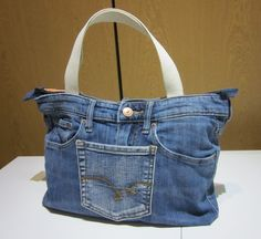 Upcycled Blue Jeans Grab Bag, Jeans Handbag, One of a Kind Bag, Handmade Bag, Small Tote Bag, Short Handles by patchawork on Etsy https://www.etsy.com/listing/242865479/upcycled-blue-jeans-grab-bag-jeans