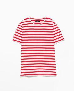 ストライプピケTシャツ-すべてを見る-Tシャツ-メンズ | ZARA 日本