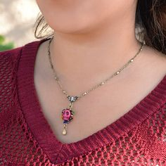 Sugar Skull Pendant Necklace - Day of the Dead Mexican Jewelry - Assorted Colors -- Learn more by visiting the image link. #JewelryForSale