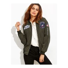SheIn(sheinside) Army Green Embroidered Patch Zipper Bomber Jacket ($27) ❤ liked on Polyvore featuring outerwear, jackets, green, flight jacket, military green bomber jacket, olive jacket, zipper jacket and green jacket