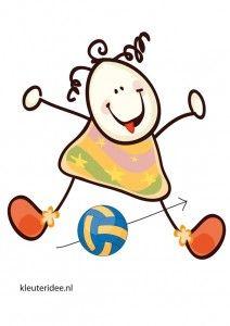 Bewegingskaart bal voor kleuters, de bal onder je benen door, kleuteridee.nl, free printable moving cards for preschool.