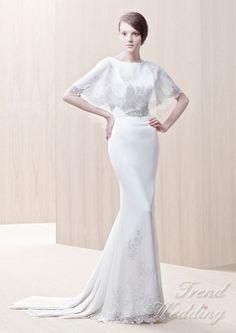 Boat Neck Sheath Silhouette Chiffon Wedding Dress [TDS064] - $288.00