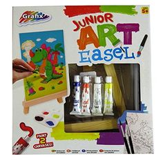 Kids' Easels - Junior Art Easel Paint Pack  Wood Easel Acrylic Paints Mixing Tray Brushes Printed Canvas Large and Small -- Click image to review more details.