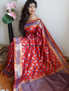 Banarasee/Banarasi Pure Handloom Dupion Silk Bootidar Sari-Red