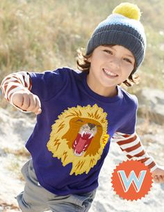 Letter W. Big Creature T-shirt 21738 Graphic T-Shirts at Boden Cute Boy Outfits, Toddler Boy Outfits, Toddler Boys, Trench Coat Style, Jacket Style, Cute Fashion, Boy Fashion, Long Parka Coats, Boden Clothing