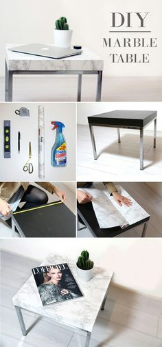 diy marble table - Ikea DIY - The best IKEA hacks all in one place Diy Marble, Marble Top, Furniture Makeover, Diy Furniture, Lamp Makeover, Apartment Furniture, Furniture Projects, Furniture Plans, Diy Casa