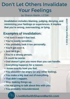 Invalidating feelings includes minimizing, denying, blaming, and judging. When someone invalidates your feelings it implies that your feelings don't matter and aren't valued. #emotionalabuse #invalidation