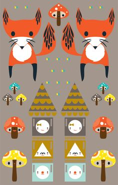 foxes illustrated @Becki Steier, you need to use these in something!  Sooooo cute!