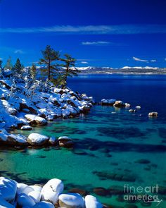 Winter Calm Lake Tahoe Canvas Print / Canvas Art by Vance Fox Vacation Destinations, Vacation Spots, Lago Tahoe, Tahoe Ski Resorts, Lake Tahoe Winter, Lake George, Great View, Travel Usa, The Great Outdoors