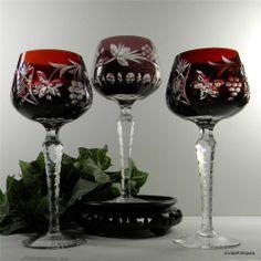 Glass Bohemian/czech Dark Red Cut To Clear Bohemian Glass Wine Goblet