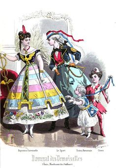 1868, Journal des Demoiselles. Fancy-dress costumes: Allegory of the Exposition Universelle - Postillion [one who rides by and guides a horse team pulling a carriage] - Havanese Puppy [a type of Bichon] - English Clown [Punch].