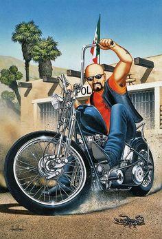 David Mann Motorcycle Biker Easyriders Centerfold Art Poster Print Mexican Burnout Bike Chopper Sturgis Daytona x Motorcycle Posters, Bike Art, Motorcycle Helmets, Harley Davidson Wallpaper, Harley Davidson Art, Baggers, Triumph Motorcycles, American Motorcycles, Bike Chopper