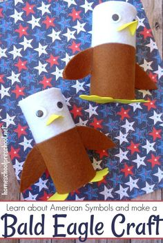 Simple Patriotic Toilet Paper Roll Bald Eagle Craft for Kids This bald eagle craft combines items you likely have in your craft stash with a focus on our national bird! Your kids will love putting him on display Craft Activities, Preschool Crafts, Children Crafts, Summer Crafts, Holiday Crafts, Toilet Paper Roll Crafts, Paper Crafts, Eagle Craft, Craft Stash