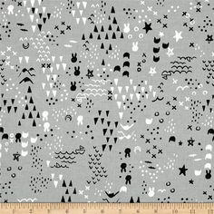Sleep Tight Fabric Maps in Grey Bunny Triangle Cross Cotton + Steel  Fat 1/4