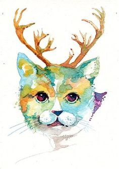 """No. 268 Cats at Christmas-1"" - Original Fine Art for Sale - © Tilen Ti"