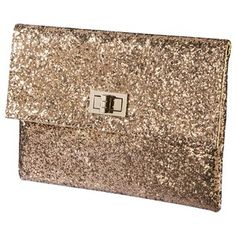 Glitter Turnlock Flap Clutch - Gold