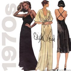 This vintage sewing pattern for a dress in evening or mid-knee length includes a jacket and was designed by Edith Head. Includes two sew-in labels as shown. Condition This is an original vintage sewin