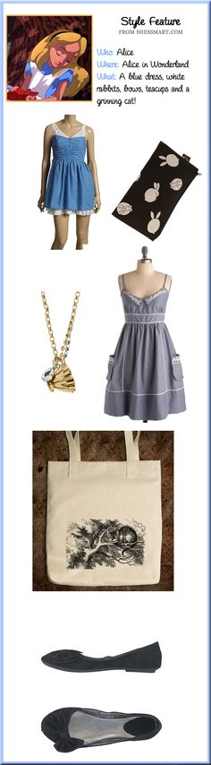 How to dress like Alice from Alice in Wonderland. Halloween Costume Ideas. Inspiration. Blue dresses.