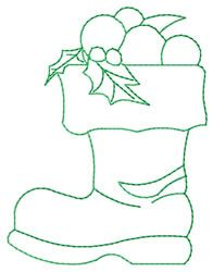 santa boot embroidery design