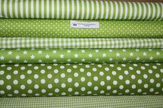 Stoffpaket (3) kiwi grün weiß Punkte, Streifen,... von mirimädchen + benbübchen  auf DaWanda.com