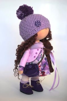 Cloth Doll Tilda Doll Winter Doll Handmade Doll Violet Doll Textile Doll Soft Doll Fabric Doll Baby Doll Art Doll Rag Doll Poupée by Yulia G Doll Clothes Patterns, Doll Patterns, Doll Toys, Baby Dolls, Sewing Dolls, Waldorf Dolls, Soft Dolls, Cute Dolls, Fabric Dolls
