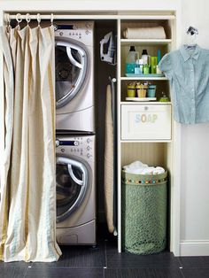 Small Laundry Room Design Ideas - use a shower curtain to hide stackable units