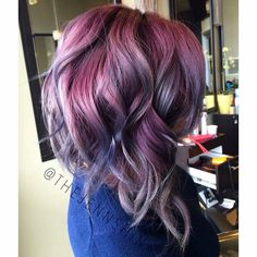 Purple and lavender hair  Angeled bob