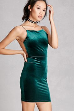 Velour Backless Cami Dress