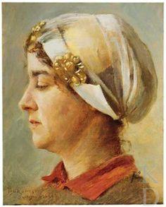 Theodore Robinson Portret van een vrouw met witte kap, 1894 Sotheby's (New York City), 186 volgens de signatuur vervaardigd in Barbizon werd deze vrouw geportretteerd met een Hollandse kap