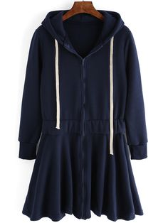 Autumn / Winter Collection 2015  Navy Drawstring Hooded Pleated Sweatshirt Dress