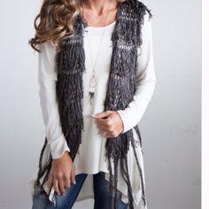 SALE LAST ONE! Fringe vest cardigan sleeveless fringe knit cardigan. Color: charcoal. 1X(14-16) TK1475010. I am modeling size large in the second photo 2 a T Boutique  Jackets & Coats