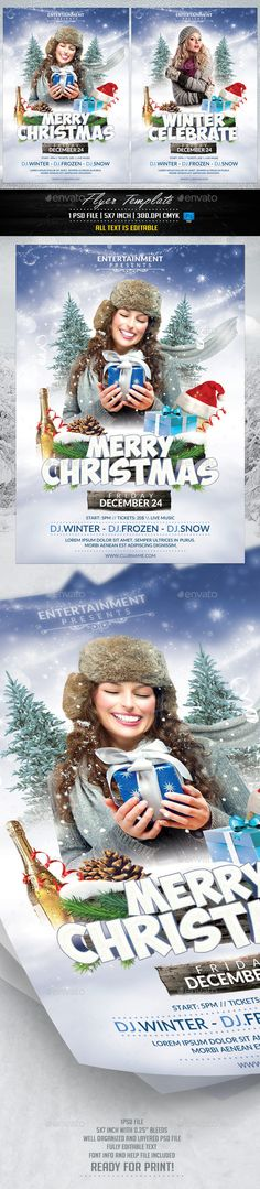 Merry Christmas Flyer by Briell Merry Christmas Flyer Template 1 PSD file 57 with bleeds CMYK Ready to print with guides Super Easy to edit tex Merry Christmas, Xmas, Christmas Flyer Template, Winter Festival, Flyer Layout, Event Flyers, Entertainment, Holidays And Events, Flyer Design