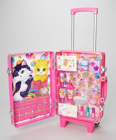 Is it bad that I want this for myself... I loved Lisa Frank when I was little #lisafrankallthethings Lisa Frank Rolling Suitcase Beauty Set by Lisa Frank #zulily #zulilyfinds