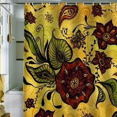 Floral Shower Curtain Yellow Sideboard Red Tub