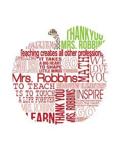 Custom Teacher Print - Apple Typography Teacher Gift - Retirement Gift - Personalized Poster - 11 x 14. 40.00, via Etsy.