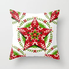 Folkloric Star Throw Pillow, i love the colors and the design