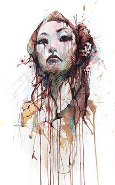 Human and floral forms, illustration by Carne Griffiths