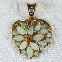 Opal Heart Pendant 14k Gold Open Heart Filigree Diamond Opal Pendant Charm