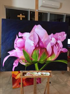 Jacqueline Coates took her passion for painting huge, luscious flowers into an amazing business and lifestyle - inspirational! Acrylic Flowers, Oil Painting Flowers, Abstract Flowers, Acrylic Art, Watercolor Flowers, Watercolor Paintings, Paint Flowers, Realistic Paintings, Painting Art