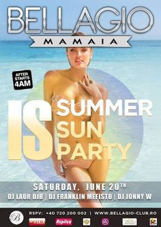 Club Bellagio Mamaia Summer Sun, Dj, Club, Party, Movies, Movie Posters, Film Poster, Films, Popcorn Posters