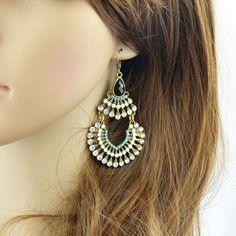 Pair of Delicate Rhinestone Hollow Out Fan-Shaped Earrings For Women #shoes, #jewelry, #women, #men, #hats, #watches