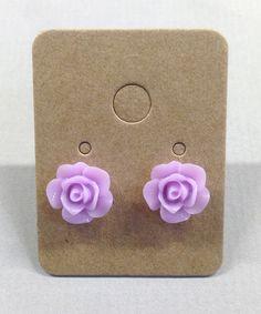 Lavender Purple Resin Rose Cabochons 10mm Earrings by RatDogInk