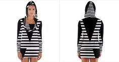 Black+&+White+Stripes+Big+Triangle+Women's+Long+Sleeve+Hooded+T-shirt
