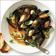 Curried Coconut Mussels.  Less curry for Matt and more jalapeno=perfect meal!