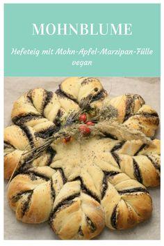 Vegane Hefeblume mit Apfel-Mohn-Marzipan-Füllung.  Veganes Rezept Mohnblume  backen, deutsch