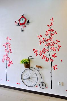 80 Awesome Spring Garden Decoration Ideas For Backyard & Front Yard Wall Painting Decor, Wall Decor, Wall Art, Wooden Garden Planters, Red Tree, Garden Art, Garden Ideas, Herb Garden, Spring Garden