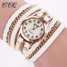 2017 CCQ Fashion Gold Chain Leather Bracelet Watch Women Casual Wrist Watch Analog Quartz Watch Clock Hour Relogio Feminino 1071