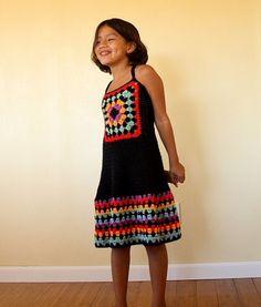 custom granny square hand crochet dress size 2 to 8. $49.95, via Etsy.