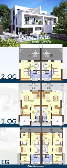 Semi-detached house Gemello FD 280 with 3 floors of Büdenbender Receive all the informations Vintage House Plans, New House Plans, Dream House Plans, Modern House Plans, Semi Detached, Detached House, Prefabricated Houses, Duplex House, Building Plans