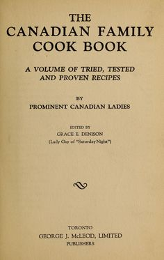 The Canadian family cook book : a volume of tried, tested and proven recipes